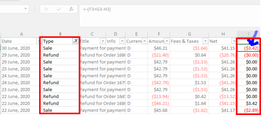 An image showing how to find discounts in your Etsy csv file.