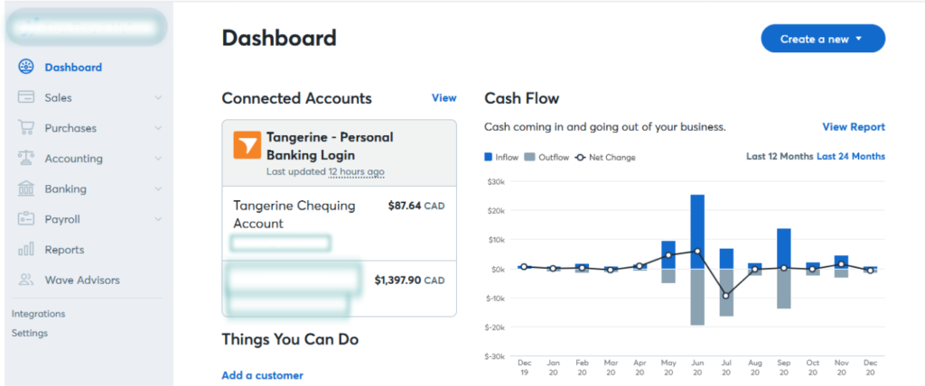 A snap shot of wave accounting software. Best bookkeeping software in Canada