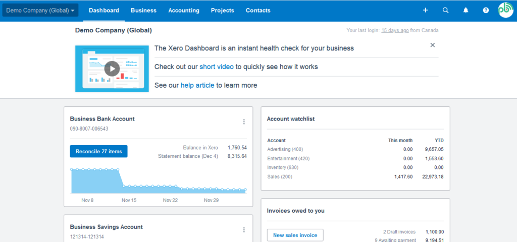 best bookkeeping software in canada. A snapshot of Xero dashboard.
